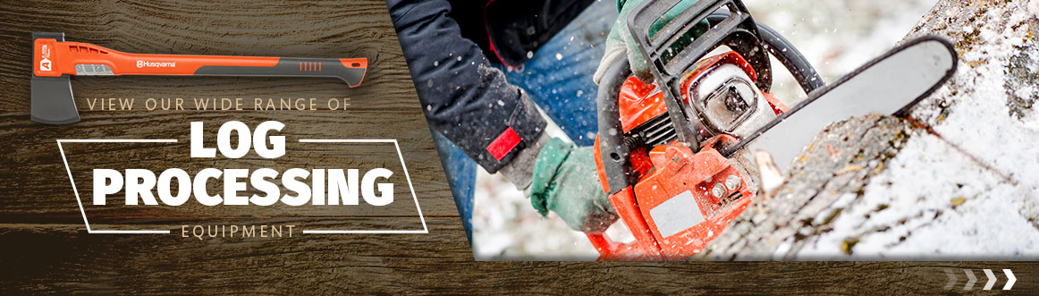 log processing splitters axes sawhorses chainsaws professional equipment